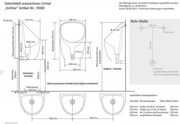 Maßblatt wasserloses Urinal SirOne Gfk