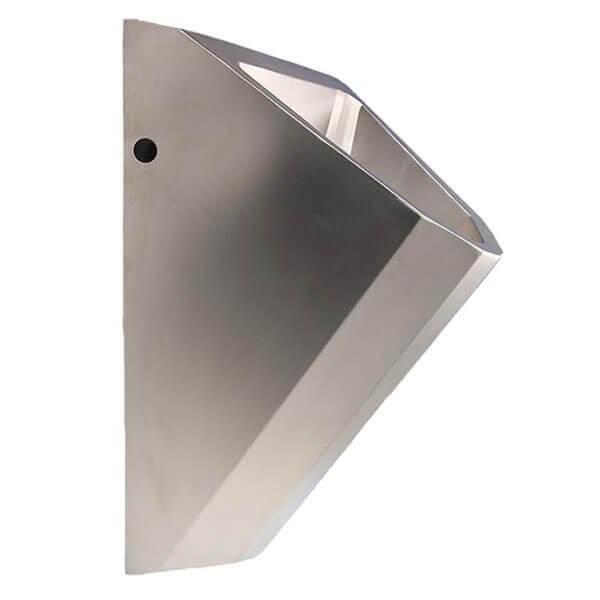 Edelstahl Urinal ExpliCit ohne Wasser Seitenansicht