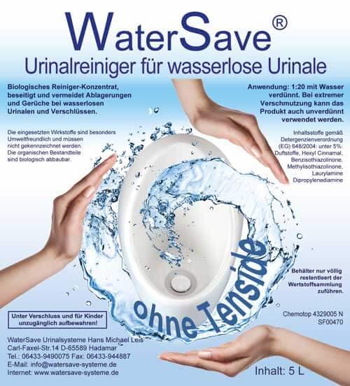 Etikett WaterSave Urinalreiniger 5 Liter für wasserlose Urinale